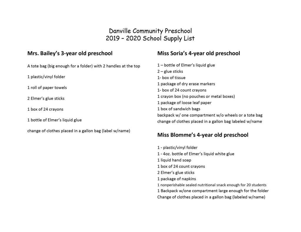 19-20 Preschool Supply Lists