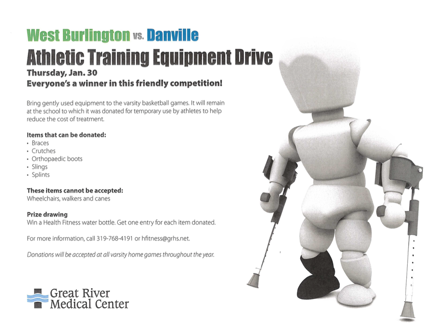 GRMC Athletic Equipment Drive for tonight's game in West Burlington